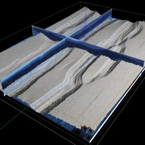 Experimento en el LaMoGe. Integración 3D de topografía y datos internos del modelo.