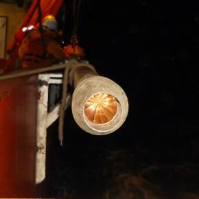 Detalle de la boquilla del testigo de gravedad. Buque Oceanográfico ARA Puerto Deseado.