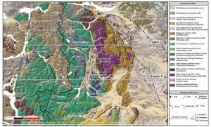 Geología de la región con las secciones estructurales realizadas.