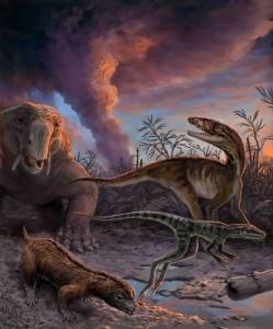 Se observa un grupo de animales que escapan de un volcán en erupción hace 235 millones de años en el noroeste de Argentina (ilustrado por Victor Leshyk).