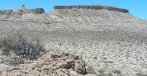 Afloramientos de la Formación Agrio en la clásica localidad de Cerro Mesa, centro de Neuquén