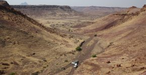 Vista general de la sucesión de origen lacustre de la Fm. Gai-as (Cisuraliano, Cuenca de Huab, Namibia)