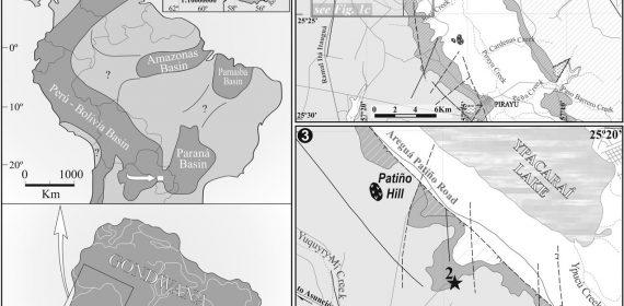 Mapa de ubicación de los afloramientos donde se encontró el material estudiado.