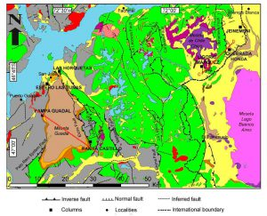 Mapa geológico de la comarca estudiada.