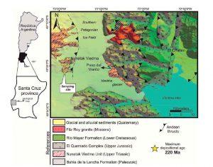 Mapa geológico con la ubicación del Nunatak Ciedma en los Andes Patagónicos Australes,