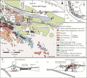 Mapa geológico regional de la región estudiada y su marco tectónico.