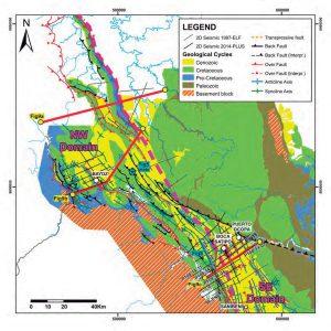 Mapa geológico simplificado de la cuenca de Ene, Sistema Subandino peruano.