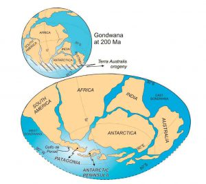 Reconstrucción paleogeográfica de la Cordillera Patagónica y la Península Antártica para el Triásico.