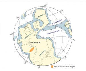 El supercontinente Pangea durante el Cisuralian, mostrando la posición geográfica intermedia de la Cuenca de Paranaíba entre Euroamérica y Gondwana.