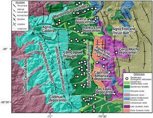 Mapa geológico generalizado de la depresión de Loncopué.