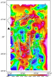 Mapa de profundidad al basamento magnético.