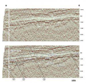 Línea sísmica de la regiómn donde se observa la inverisón tectónica.