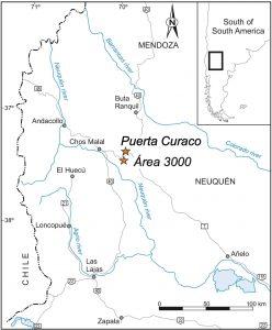 Mapa de ubicación de las secciones estratigráficas analizadas.