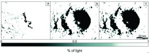 Figura que muestra las condiciones de iluminación del cráter Toro donde el sol tiene un acimut de 64,5º y el ángulo de elevación solar es de 4,8º.