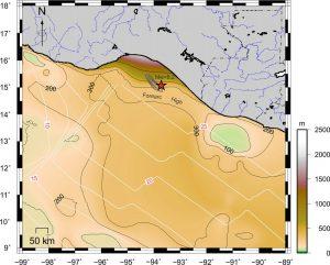 Espesor de sedimentos en el antearco costa afuera.