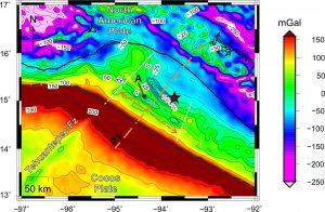 Anomalías de gravedad residual corregida por efectos topográficos y espesor sedimentario.