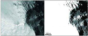 Comparación entre una imágen HiRISE y el mapa de iluminación simulado para la misma área.