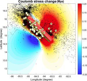 Cambios máximos de los valores de tensión estática asociados al terremoto de Chiapas.