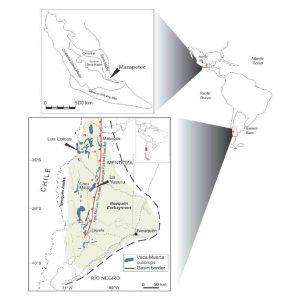 Ubicación de las localidades fosilíferas datadas en la Sierra Madre de México y en la cuenca neuquina de Argentina.