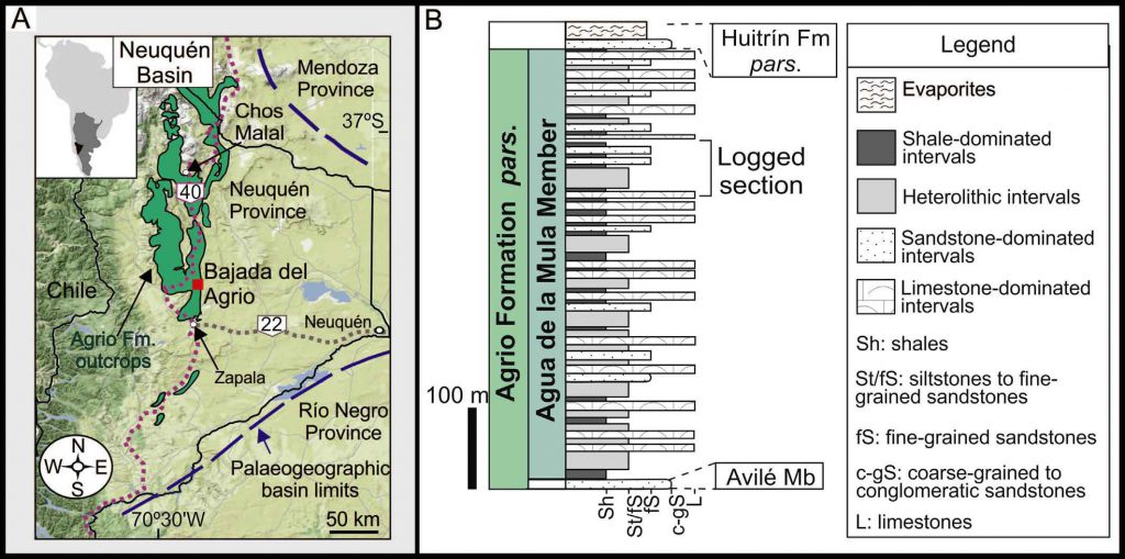 Ubicación geográfica y estratigráfica de las trazas fósiles estudiadas en la Cuenca Neuquina.