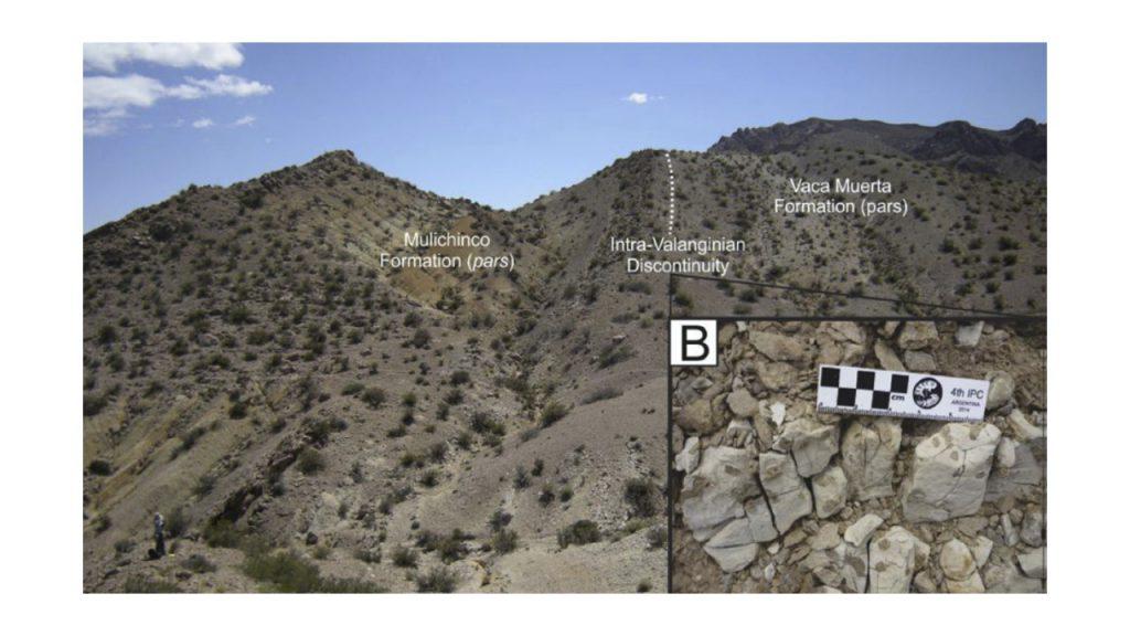 Vista General de la sección relevada en la Sierra de Cara de Cura y detalle de la discontinuidad intravalanginiana se parando la Formación Vaca Muerta de la Formación Mulichinco