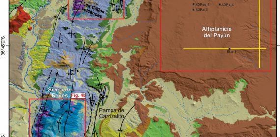 Mapa geológico del área de estudio, la cual comprende a los depocentros Cara Cura – Reyes expuestos en el núcleo de los anticlinales homónimos, y al depocentro Altiplanicie del Payún en subsuelo.